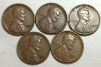 LOT OF FIVE 1933-D LINCOLN WHEAT CENTS. FOUR ARE VF, ONE IS FINE.