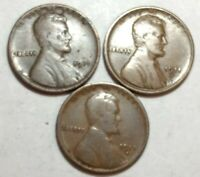 LOT OF THREE 1911-D LINCOLN WHEAT CENTS. TWO ARE FINE, ONE IS GOOD.