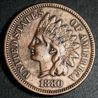 1880 INDIAN HEAD CENT - NEAR EXTRA FINE  EF - WITH ACCENTED E SNOW-13