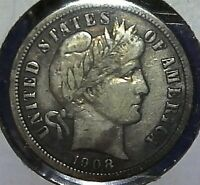 1908-D 10C BARBER DIME SILVER US COIN HIGHER GRADE