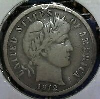 1912-S BARBER DIME SILVER US COIN VF