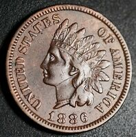 1886 INDIAN HEAD CENT - WITH LIBERTY - NEAR EXTRA FINE  EF  - T1 TYPE 1