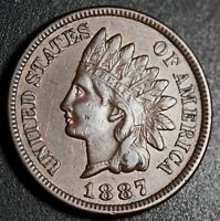 1887 INDIAN HEAD CENT - WITH LIBERTY & DIAMONDS - EXTRA FINE  EF