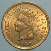 1907 INDIAN HEAD CENT   MOSTLY RED CHOICE UNCIRCULATED