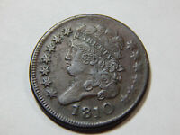 1810 1/2C CLASSIC HEAD HALF CENT EXTRA FINE , 20 DEGREE ROTATED REVERSE, GREAT COIN