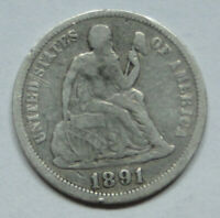 SEATED LIBERTY DIME  1891  LOT  1
