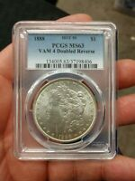 1888-P HOT 50 PCGS MINT STATE 63 VAM 4 DOUBLED REVERSE MORGAN SILVER US ONE DOLLAR COIN