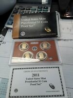 1 2011 UNITED STATES MINT PRESIDENTIAL $1 COIN PROOF SET W/ BOX & COA 197