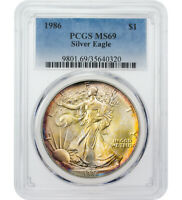 $1 1986 AMERICAN SILVER EAGLE PCGS MINT STATE 69 TONED