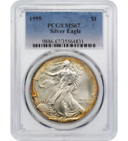 $1 1995-P AMERICAN SILVER EAGLE PCGS MINT STATE 67