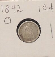 1842-O SEATED LIBERTY DIME  U.S. 10 CENTS 90 SILVER COIN
