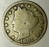 1901-P  5C LIBERTY HEAD NICKEL,  19SH0328  ONLY 50 CENTS FOR SHIPPING