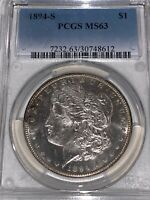 1894-S MORGAN SILVER DOLLAR PCGS MINT STATE 63 GORGEOUS NEARLY PL COIN