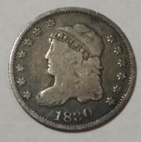 1830 CAPPED BUST US SILVER HALF DIME. VG-F LOT2