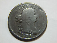 1805 1/2C DRAPED BUST HALF CENT SMALL 5, NO STEMS VG, GOOD COIN