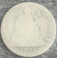 1891-S SEATED LIBERTY DIME GOOD M-87