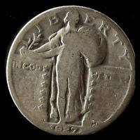 1927-D STANDING LIBERTY 90 SILVER QUARTER SHIPS FREE. BUY 5 FOR $2 OFF