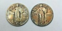 1927 & 1928 VF STANDING LIBERTY QUARTERS BEAUTIFULLY TONED PAIR