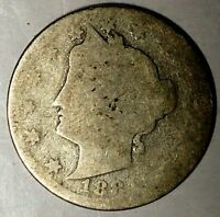 1884-P  5C LIBERTY HEAD NICKEL 19UOC0117 ONLY 50 CENTS FOR SHIPPING