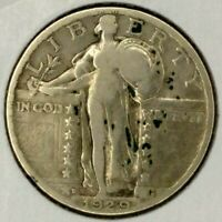 1929-D 25C STANDING LIBERTY QUARTER 19UCT0726 90 SILVER 50 CENTS FOR SHIPPING