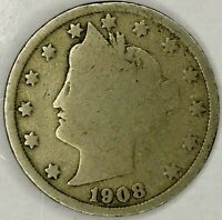 1908-P 5C LIBERTY HEAD NICKEL 19CR0630 ONLY 50 CENTS FOR SHIPPING