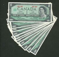 LOT OF 11X CANADA 1867 1967 ONE DOLLAR $1 BANKNOTES. UNCIRCULATED.