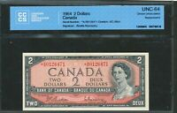 1954 $2 BANK OF CANADA.  AB REPLACEMENT NOTE. UNC64 CCCS. B R SIGS. BC 38BA.