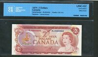 1974 $2 CANADA RL8000000 MILLION SERIAL NUMBER NOTE. UNC 62 CCCS. BC 47A.