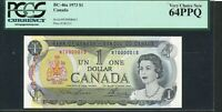 1973 $1 BANK OF CANADA. LOW SERIAL NUMBER NT0000015 NOTE. PCGS UNC64 PPQ.