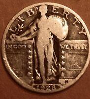 1928 PHILADELPHIA MINT SILVER STANDING LIBERTY QUARTER FV CIRCULATED