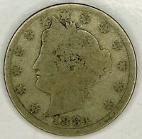 1884-P  5C LIBERTY HEAD NICKEL 19CHU0708 ONLY 50 CENTS FOR SHIPPING
