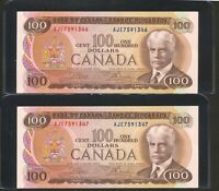CONSECUTIVE SERIAL  PAIR OF 2X 1975 $100 BANK OF CANADA NOTES. AU.