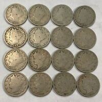 LIBERTY V NICKEL COLLECTION. 16 ALL DIFFERENT,1897-1912. STRONG GOOD. LOT4
