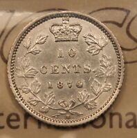 1874H CANADA SILVER 10 CENTS. EF 40 ICCS CERTIFIED. IZ 687