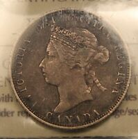 1882H CANADA SILVER 25 CENTS F15 ICCS.