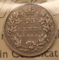 1883H CANADA SILVER 25 CENTS. VF20 ICCS.