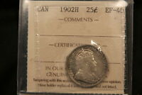 1902 H CANADA SILVER 25 CENTS. EF 40 ICCS CERTIFIED.
