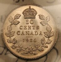1936 CANADA SILVER 10 CENTS MS 63 ICCS.