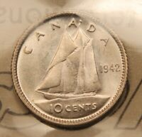 1942 CANADA SILVER 10 CENTS. MS65 ICCS GEM UNCIRCULATED. BV $400.