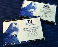 2003 & 2004 US MINT STATE QUARTER PROOF SETS PERFECT  COMPLE