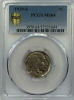 PCGS MS64 1930 S BUFFALO NICKEL.  GEM BU.  NR.