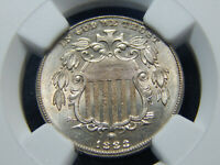1883/8-2 5C SHIELD NICKEL OVERDATE FS-305 MINT STATE 64 NGC, TOUGH COIN