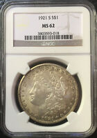 1921 S MORGAN DOLLAR  NGC>MINT STATE 62  TONED BOLDLY DETAILED COIN