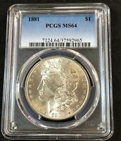 1881-P MORGAN SILVER DOLLAR PCGS MINT STATE 64 GREAT EYE APPEAL