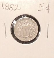 1882 SHEILD NICKEL, OBSOLETE U.S. 5 CENT COIN-GREAT CONDITION