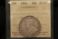 1914 CANADA SILVER 50 CENTS ICCS F12.