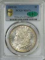 1898 O MORGAN SILVER DOLLAR PCGS MINT STATE 67  CAC APPROVED  - TOP POP AT PCGS