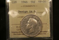 1946 CANADA SILVER 50 CENTS. HOOF DESIGN IN 6 VARIETY. ICCS VF20.