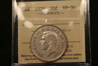 1939 CANADA SILVER 50 CENTS. ICCS VF30. BETTER DATE.