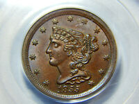 1855 1/2C BRAIDED HAIR HALF CENT MINT STATE 63BN PCGS, GREAT COIN